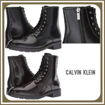 Calvin Klein Plain Toe Plain Leather Boots