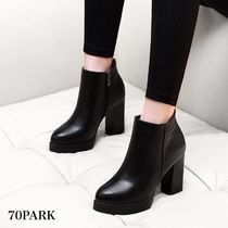 Casual Style Faux Fur Plain Block Heels