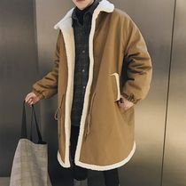Faux Fur Street Style Plain Long Oversized Parkas