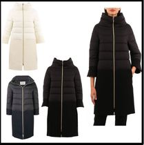 HERNO Wool Blended Fabrics Plain Long Down Jackets