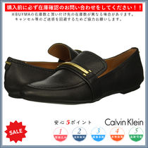 Calvin Klein Round Toe Rubber Sole Casual Style Plain Leather