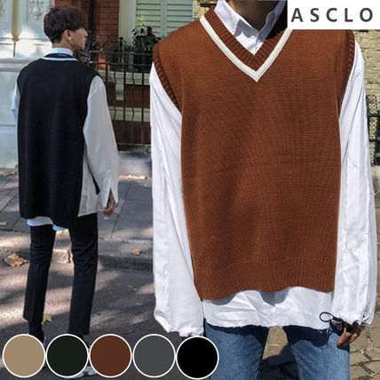 ASCLO Vests & Gillets Street Style Collaboration Plain Vests & Gillets