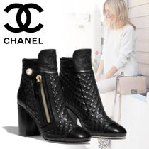 CHANEL Other Check Patterns Plain Toe Blended Fabrics Plain Leather