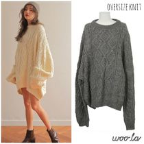 Crew Neck Cable Knit Casual Style Street Style Plain Long