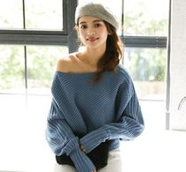 Cable Knit Casual Style U-Neck Long Sleeves Plain Medium