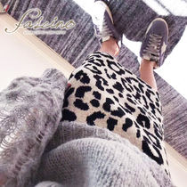 Pencil Skirts Leopard Patterns Casual Style Cotton Medium