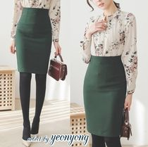 Plain Medium Office Style Midi Skirts
