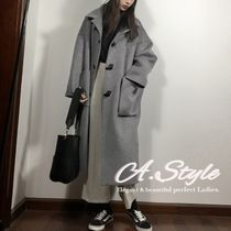 Casual Style Wool Plain Long Duffle Coats