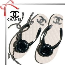 CHANEL Open Toe Casual Style Plain Flip Flops Flat Sandals