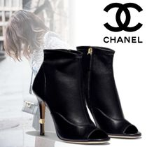 CHANEL Open Toe Blended Fabrics Plain Leather Pin Heels