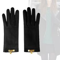 HERMES Plain Leather Elegant Style Leather & Faux Leather Gloves