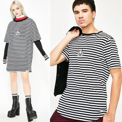 Stripes Unisex Collaboration Cotton Short Sleeves T-Shirts