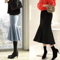 Pencil Skirts Casual Style Plain Cotton Long Maxi Skirts