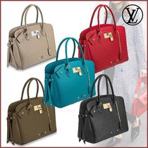 Louis Vuitton Blended Fabrics 2WAY Plain Leather Elegant Style Handbags