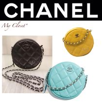CHANEL MATELASSE Street Style 2WAY Chain Plain Leather Elegant Style Clutches