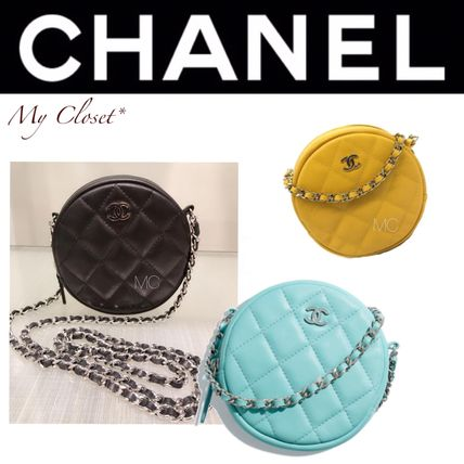 Street Style 2WAY Chain Plain Leather Elegant Style Clutches