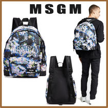 MSGM Flower Patterns Street Style Collaboration Backpacks