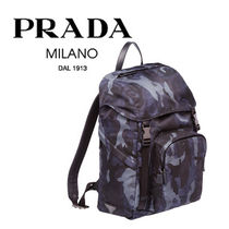 PRADA Camouflage Unisex Nylon Street Style Backpacks