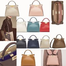 FENDI PEEKABOO Plain Leather Elegant Style Handbags