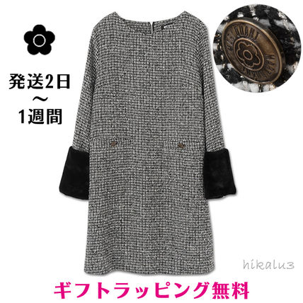 Crew Neck Casual Style A-line Tweed Long Sleeves Plain