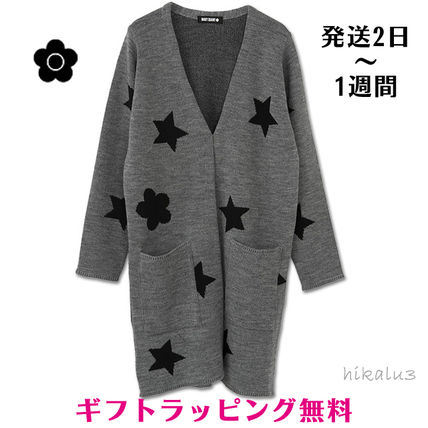 Star Casual Style Wool Long Sleeves Long Gowns Cardigans