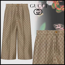 GUCCI Monogram Wool Office Style Culottes & Gaucho Pants