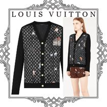 Louis Vuitton MONOGRAM Monogram Wool Collaboration Long Sleeves Medium Cardigans