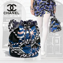 CHANEL Other Check Patterns Star Blended Fabrics Street Style