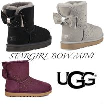 UGG Australia MINI BAILEY BOW Round Toe Casual Style Sheepskin Wedge Boots