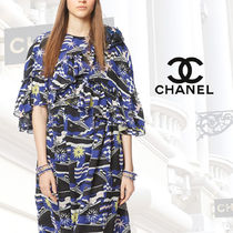 CHANEL Short Other Check Patterns Star Blended Fabrics Street Style