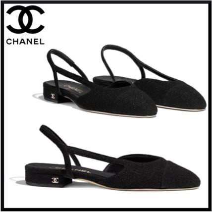 10868406097 ... CHANEL More Sandals Tweed Plain Block Heels Elegant Style Sandals ...