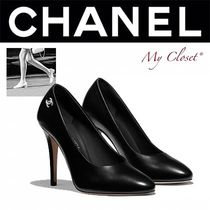 CHANEL ICON Casual Style Street Style Plain Pin Heels Oversized