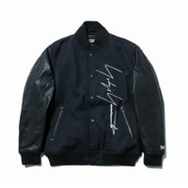 Yohji Yamamoto Unisex Collaboration Leather Varsity Jackets