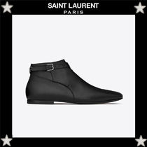 Saint Laurent Plain Leather Chukkas Boots