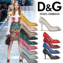 Dolce & Gabbana Flower Patterns Pin Heels Party Style Shoes
