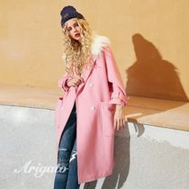 ELF SACK Casual Style Faux Fur Street Style Plain Long Peacoats