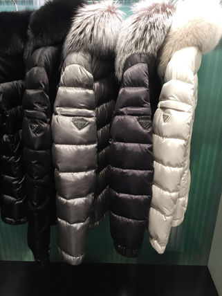 Short Fur Blended Fabrics Plain Down Jackets