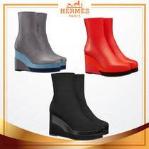 HERMES Square Toe Plain Leather Wedge Boots