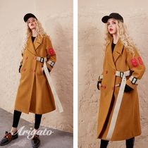 ELF SACK Casual Style Wool Street Style Plain Long Peacoats