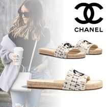 CHANEL Other Check Patterns Open Toe Blended Fabrics Elegant Style