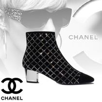 CHANEL Other Check Patterns Plain Toe Suede Blended Fabrics
