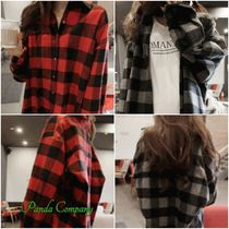 Tartan Other Check Patterns Casual Style Long Sleeves Medium