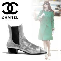 CHANEL Blended Fabrics Plain Leather Block Heels Chelsea Boots