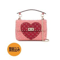 VALENTINO Heart Studded 2WAY Chain Leather Elegant Style Handbags