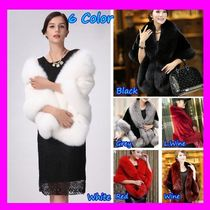 Blended Fabrics Plain Eco Fur Shawls