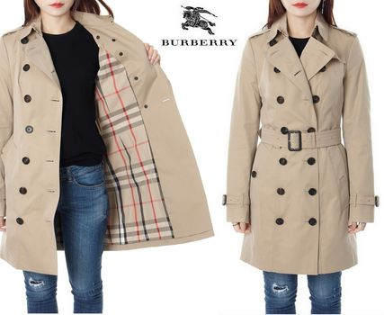 Burberry Trench Other Check Patterns Medium Elegant Style Trench Coats