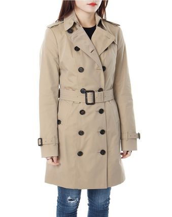 Burberry Trench Other Check Patterns Medium Elegant Style Trench Coats 4