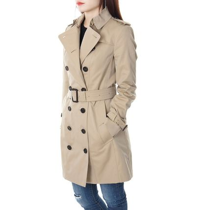 Burberry Trench Other Check Patterns Medium Elegant Style Trench Coats 9
