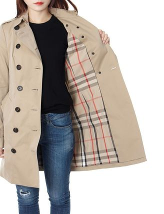 Burberry Trench Other Check Patterns Medium Elegant Style Trench Coats 11