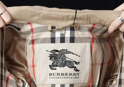 Burberry Trench Other Check Patterns Medium Elegant Style Trench Coats 15